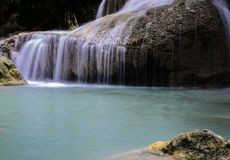 Waterfall. Blue stream waterfall in Kanjanaburi Thailand (Erawan waterfall Nation Park stock photo