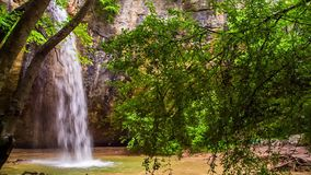 The waterfall is boiling, the trees are swaying in the wind. The waterfall is boiling, in the foreground the trees are swaying in the wind, in the background the stock video