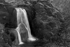 Black and white waterfall in Iceland.