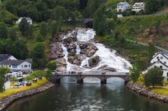 Waterfall in the village of Hellesylt. Norway stock images