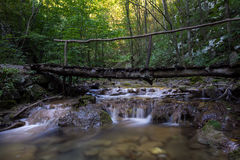 Waterfall with bridge in the Natural reservation Cheile Nerei, Romania Royalty Free Stock Image