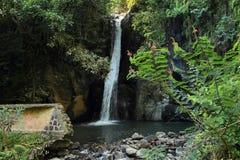 Waterfall with broken dam Stock Image