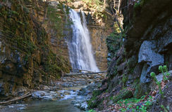 Waterfall and brook in mountain forest ravine Royalty Free Stock Photo