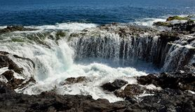 Waterfall in Bufadero La garita, Canary islands, photo series Stock Photography