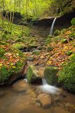 Waterfall Butzerbachtal during fall in the Eifel. Stock Photo