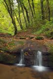 Waterfall Butzerbachtal during fall in the Eifel. Royalty Free Stock Images