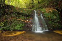 Waterfall Butzerbachtal during fall in the Eifel Royalty Free Stock Photo