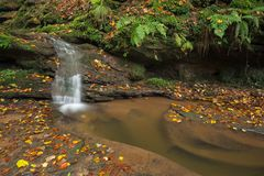 Waterfall Butzerbachtal during fall in Germany. Stock Photo