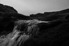 Waterfall in BW stock photos