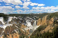 The waterfall called Lower Falls and the Grand Canyon of the Yellowstone National Park, USA Stock Photos