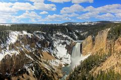 The waterfall called Lower Falls and the Grand Canyon of the Yellowstone National Park, USA Stock Photo