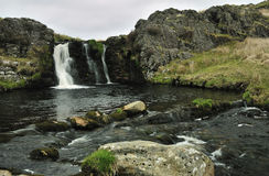 Waterfall on Camddwr. Above Llyn Brianne Reservoir, Cambrian Mountains Royalty Free Stock Photography