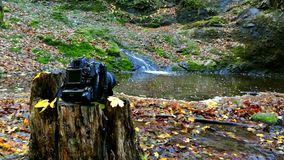 Waterfall with camera stock footage