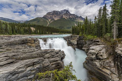 Waterfall in the Canadian Rocky Mountains- Jasper National Park Royalty Free Stock Photos