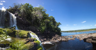 Waterfall in the Canaima Lagoon, Venezuela Royalty Free Stock Image