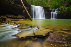 Waterfall at Caney Creek. Water flows down Caney Creek waterfall into a blue pool in the Bankhead National Forest Stock Image