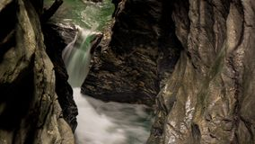 Waterfall in canyon close up. Hiking in austria waterfall in canyon close up royalty free stock photo