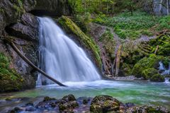 Waterfall in the canyon Stock Photography