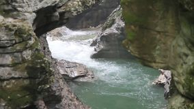 Waterfall in the canyon stock footage