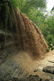 Waterfall Carrying Sediment After Heavy Rain Royalty Free Stock Image