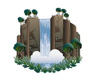 Waterfall. Cartoon landscape with mountains, trees and bushes . Vector illustration vector illustration