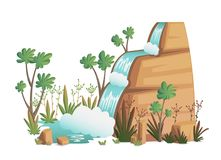 Waterfall. Cartoon landscapes with mountains, trees and bushes . Vector illustration royalty free illustration