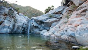 Waterfall at Cascada Sol Del Mayo on the Baja California peninsula in Mexico. BCS royalty free stock images