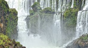 The Waterfall cascade San Marti in Iguasu river Prana. Observation deck at the waterfall of San Martí n Iguasu Stock Image