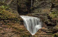 Waterfall cascading over Glen Gorge in Watkins Glen. State Park stock photos