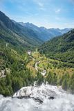 Waterfall Cascata del Toce in Formazza region Italy. Formazza is a commune in the Italian region Piedmont, located  on the border with Switzerland Stock Images