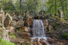 Waterfall at the casino park in spring, Lower Saxony, Germany Royalty Free Stock Photos