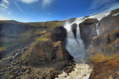 Waterfall in central mountain Iceland Royalty Free Stock Photo