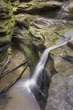 Waterfall Chasm. Water streams down the steep rocky sides of a deep chasm in Indiana's Turkey Run State Park Stock Photos