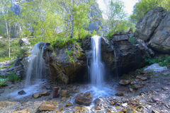 Waterfall Che-Chkysh in Altai. Waterfall Che-Chkysh in natural landmark in Altai region - mountain gorge Che-Chkysh (Valley of Mountain Spirits Royalty Free Stock Photos