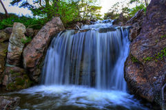 Waterfall at chicago botanic garden Royalty Free Stock Photos