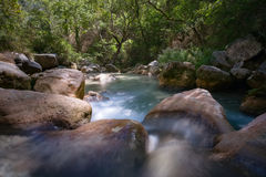 Long shutter photo shot of a flowing water stream with waterfall Royalty Free Stock Photos