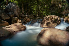 Long shutter photo shot of a flowing water stream with waterfall Royalty Free Stock Images
