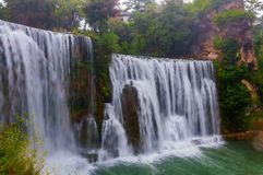 Waterfall in the city of Jajce stock images