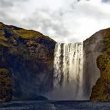 Waterfall and cliff Stock Image