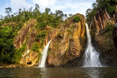 Waterfall and cliff beautiful with sunshine Stock Photography