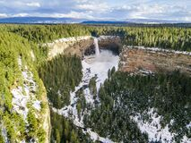 Waterfall with cliffs and ice surrounded by forest panorama
