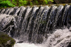 Waterfall close up. Water cascade on moss stones Royalty Free Stock Photos