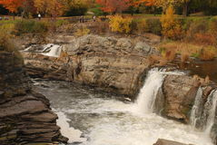 Waterfall closeup. Close up of rocks and waterfall in autumn Royalty Free Stock Images