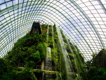 Waterfall in Cloud Forest Dome at Gardens by the bay, Singapore-12 SEP. 2017 royalty free stock image