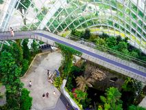 Waterfall in Cloud Forest Dome at Gardens by the bay, Singapore-12 SEP. 2017 royalty free stock photography