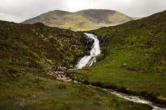Waterfall on a Cloudy Day in Scotland Royalty Free Stock Image