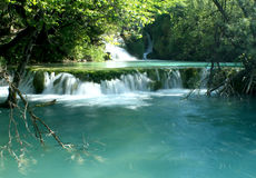 Waterfall in the Coatia. Waterfall in the Plitvice National Park UNESCO World Heritage, Croatia stock photography