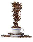 Waterfall of coffee beans in a cup of Europe Stock Image