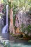Waterfall `Cola del caballo` and the lake. In the Natural park of Monasterio de Piedra in Nuevalos, Zaragoza, Spain stock photo