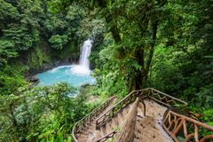 Waterfall in Costa Rica. Majestic waterfall in the rainforest jungle of Costa Rica. Tropical hike royalty free stock photography